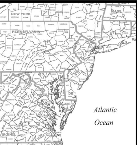 Mid Atlantic Outline Map by Mid Atlantic Map My