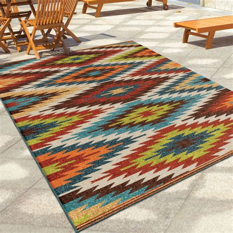 Aztec Outdoor Rug Orian Rugs Indoor Outdoor Aztec Sedona Multi Area Small Rug 2362 5x8 Orian Rugs