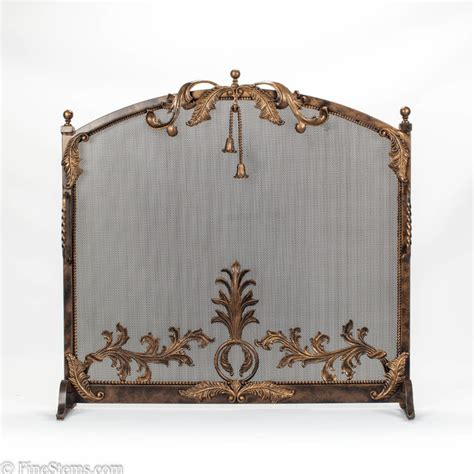 bronze and gold iron fireplace screen traditional