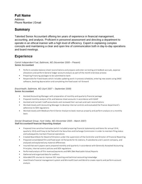 Senior Resume by Free Senior Accounting Resume Template Sle Ms Word Cv Format For Accountant In Exle Senior