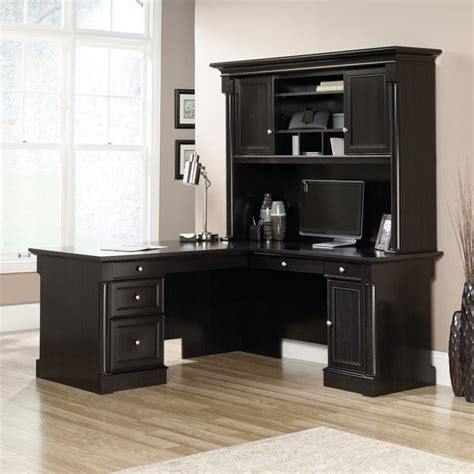 l shaped desk with hutch l shaped desk with hutch and credenza in wind oak 417700
