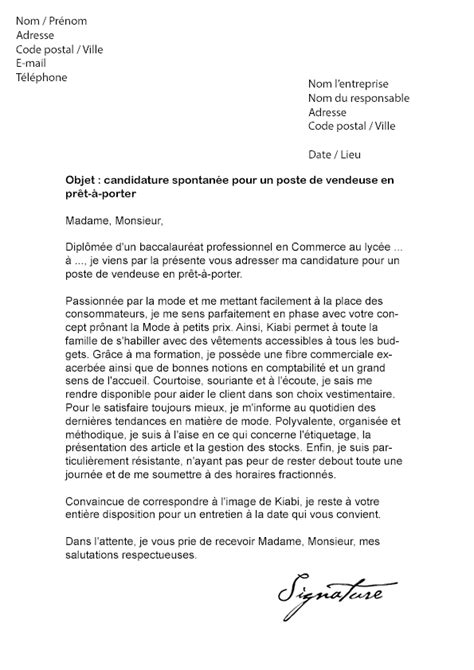 lettre de motivation kiabi vendeuse en pr 234 t 224 porter