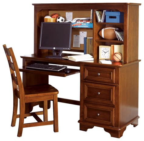 Lea Deer Run Computer Desk With Hutch In Brown Cherry Kid Computer Desk