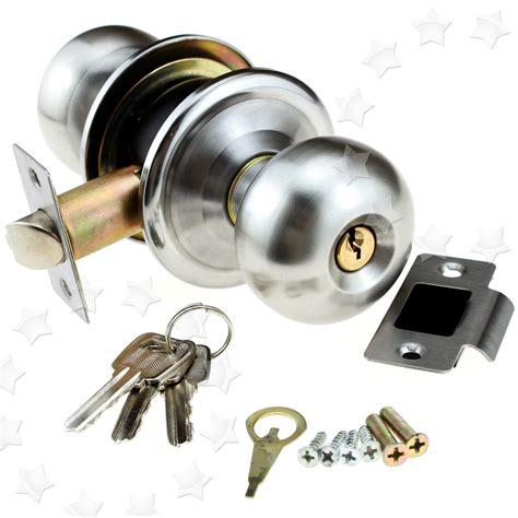 Entrance Door Knob Lock Set by Satin Stainless Steel Door Knob Handles Lock Passage
