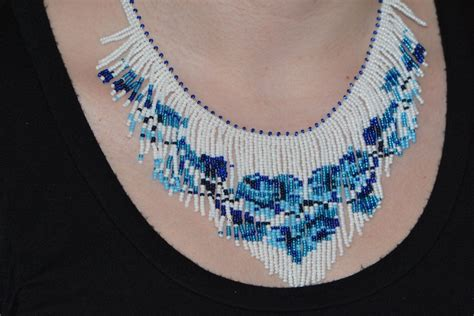 beadwork blue blue white beadwork necklace beadweaving fringe