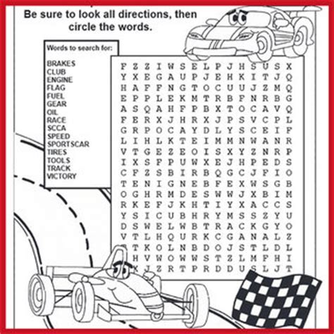 Car Types Word Search by Coloring Pages Activities And More Sports Car Club Of
