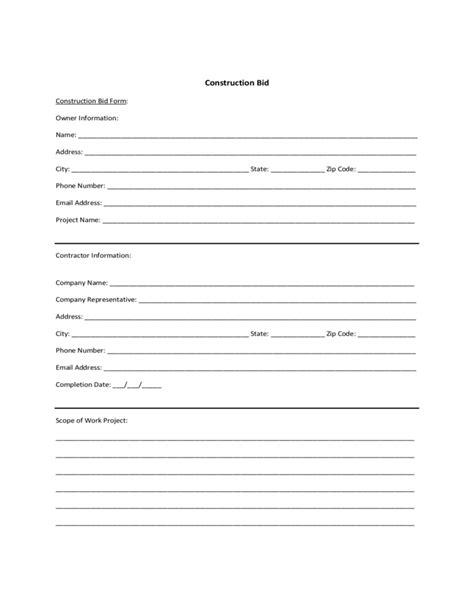 Sle Form For Construction Bid Free Download Bid Template Pdf