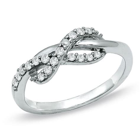 white gold infinity ring 1 4 ct t w infinity ring in 10k white gold