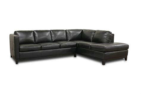 sofa leather sectional baxton studio rohn black leather modern sectional sofa