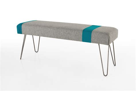 hairpin leg bench upholstered bench with hairpin legs side view modern legs