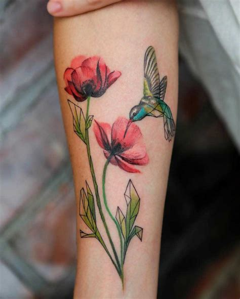 flowers poppy and hummingbird tattoo arm tattoos