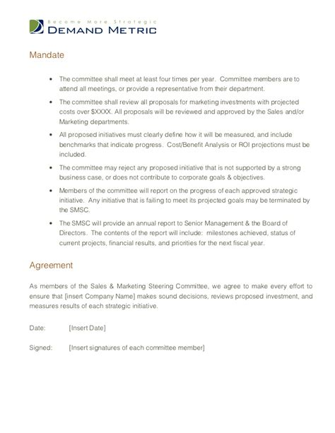 Steering Committee Charter Template Steering Committee Presentation Template