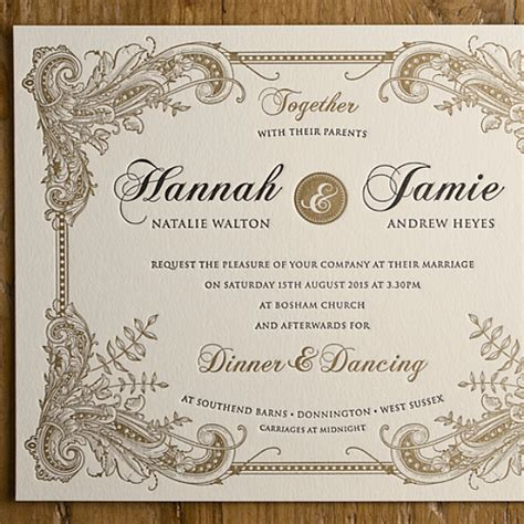 two colour baroque letterpress wedding invitation - Card Lab Wedding Invitations