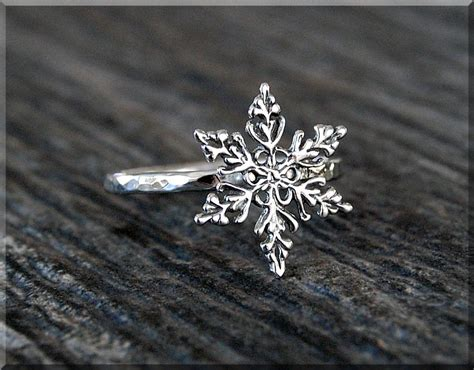 snowflake stacking ring sterling silver ring by