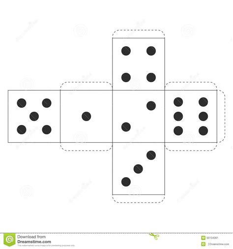 printable casino dice template vector stock vector
