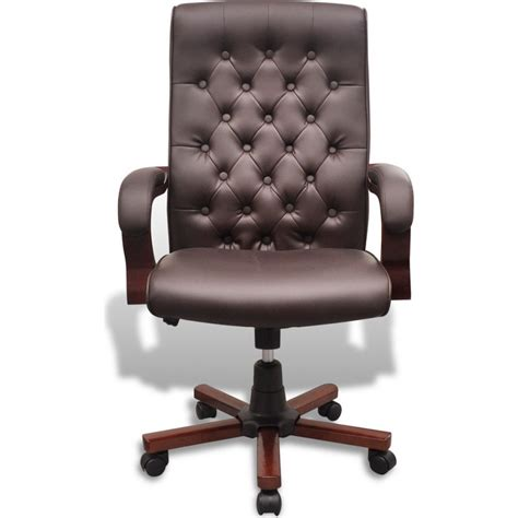 brown faux leather office chair chesterfield faux leather office chair in brown buy