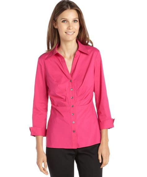 Laila Button Pink lafayette 148 new york glam pink stretch cotton ruched