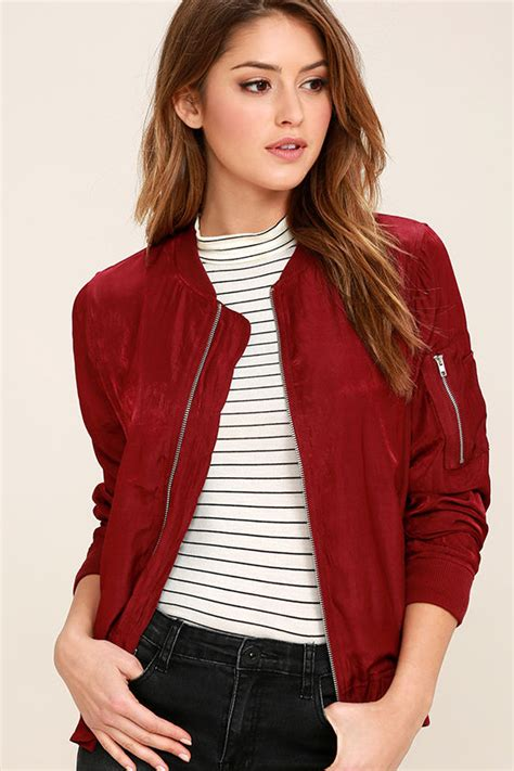 Rubbi Jacket Bomber Wanita Blouse Jacket chic burgundy jacket bomber jacket lightweight jacket 58 00