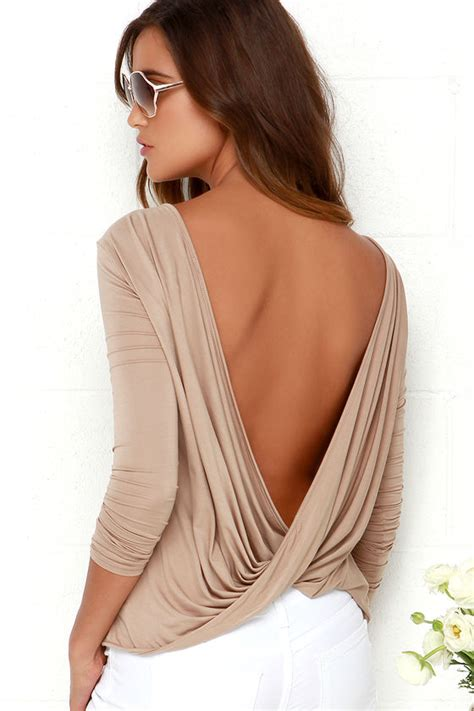 Open Back Sleeve Top chic light brown top sleeve top open back top