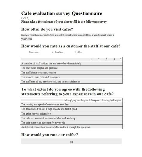 questionair template 33 free questionnaire templates word free template
