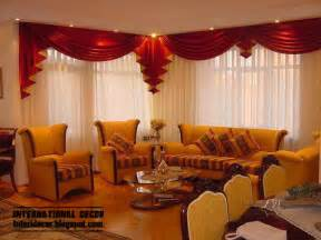 Red and white curtain design with romantic lighting for living room