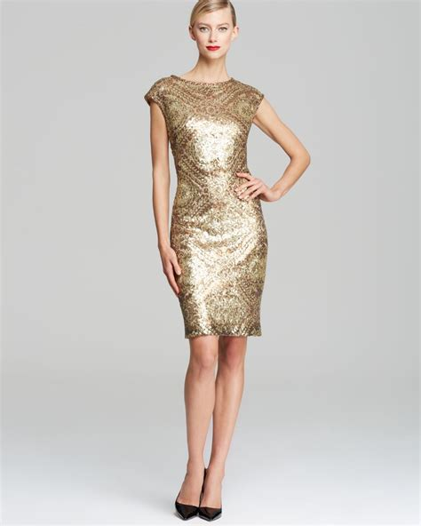 dress cap sleeve beaded sequin gown lyst sue wong printed sequin sheath dress cap sleeve in