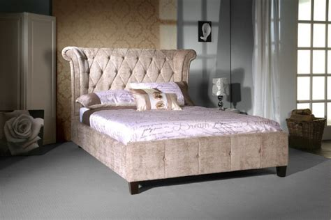 velvet bed frame limelight epsilon 5ft kingsize mink velvet bed frame