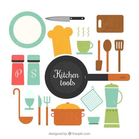 flat kitchen utensils set vector free download