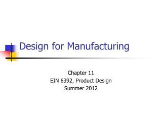design for manufacturing ulrich ppt product design and development fourth edition by