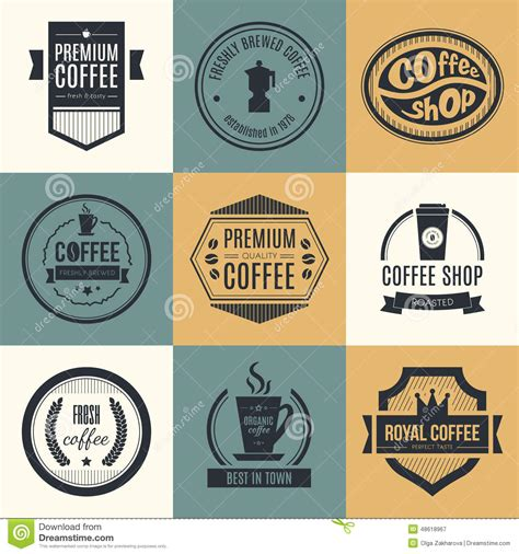 Creative Coffee Mugs by Coffee Shop Logo Collection Stock Vector Image 48618967