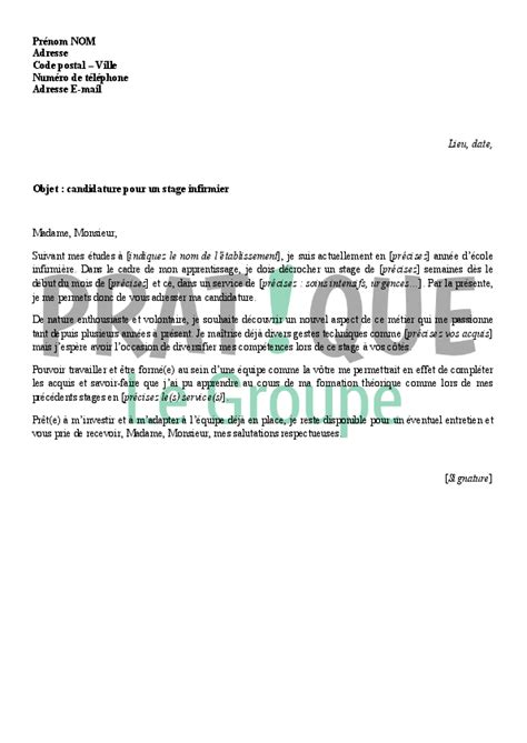 Lettre De Motivation Stage Hopital Infirmier lettre de motivation pour un stage d infirmier pratique fr