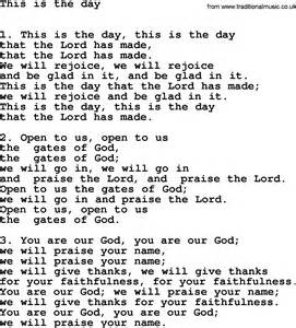 This Is Lyrics Hymns For Confirmation Services Title This Is The Day