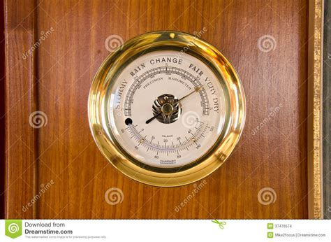 barometer thermometer weather station  wood stock photo