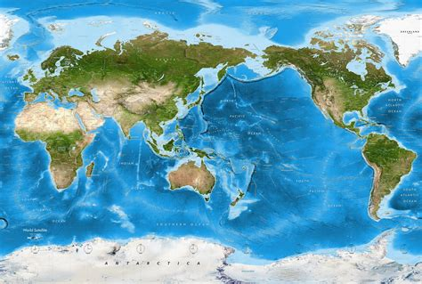 world map with country name satellite detailed world satellite map pacific view