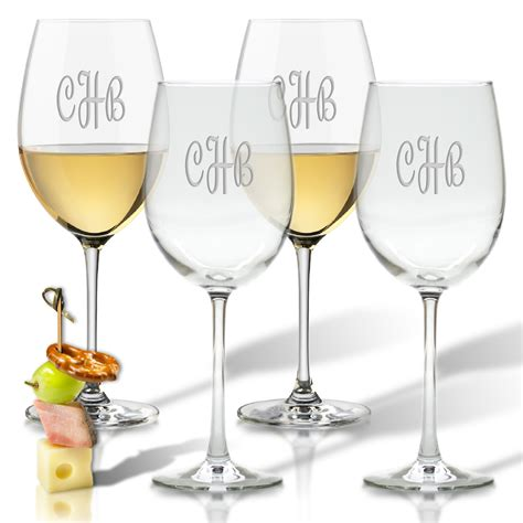 monogram barware monogram wine glasses set of 4 classic prep monograms