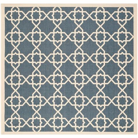 Safavieh Courtyard Navy Beige 4 Ft X 4 Ft Indoor Outdoor 4 Foot Area Rugs