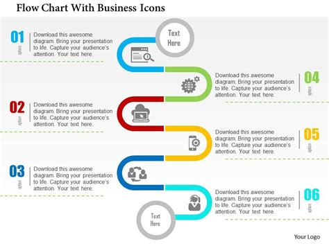 Flow Chart With Business Icons Flat Powerpoint Design Chart Presentation Design