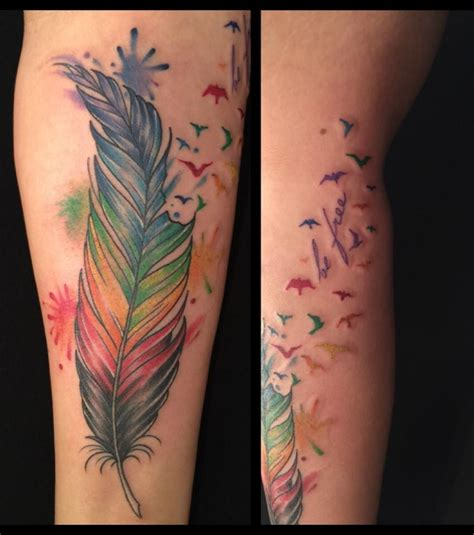 feather into birds tattoo watercolor feather into birds by a r t trained