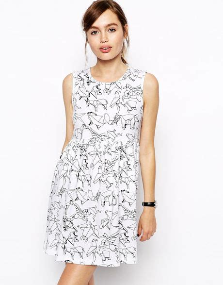 Origami Print Dress - asos skater dress in origami animal print in multicolor