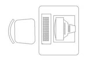 cadeira mesa e computador bloco autocad