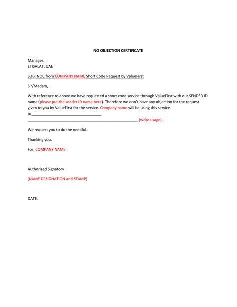 Request Letter Format For Noc From Company Format Of No Objection Letter Best Template Collection