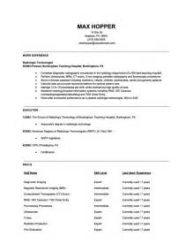radiologic technologist resume sles resume exle college of radiologic technologist resume
