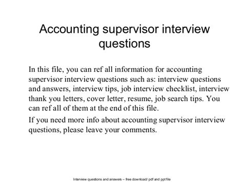 thank you letter after for accounting accounting supervisor questions