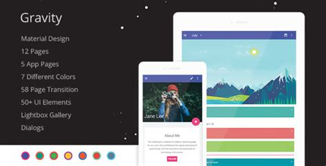 Gravity Material Design Mobile Template By Codnauts Themeforest Material Design Website Template