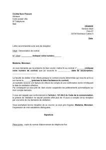 Lettre De Resiliation Orange Ligne Fixe Modele Lettre Resiliation Orange Ligne Fixe Document