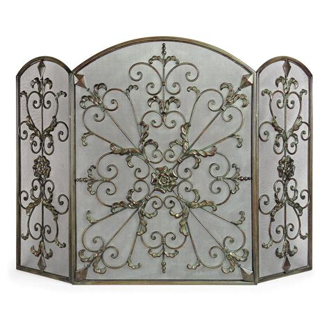 bronze fireplace screen uniflame venetian bronze 3 panel fireplace screen with leaf scrolls s 1645 the home depot