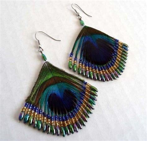 feather beaded earrings vintage 80 s boho peacock feather beaded earrings