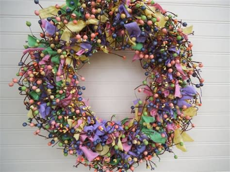 rag wreath wreath rag wreath berry wreath pastel by
