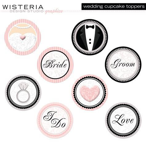 bridal shower cupcake toppers by a lollipop tree wedding cupcake toppers diy printables by wisteriadesignstudio
