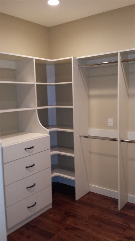 Closet With Drawers And Shelves White Pine Wood Closet Corner Shelving Units With Storage
